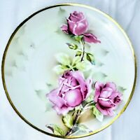 """Weimar China Germany 8.5"""" Hand painted PLATE Flowers pink, green, white (READ)"""