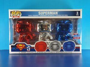 Box Damage Chrome Superman Funko Pop Vinyl 3-Pack DC NYCC 2018 Exclusive