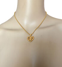 LANVIN VINTAGE LOGO L PENDANT GOLD NECKLACE