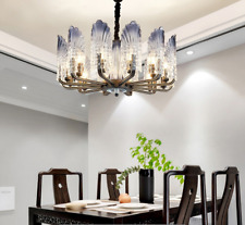 Modern Peacock Crystal Chandelier 10-Lights LED Glass Pendant Ceiling Fixture