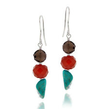 925 Silver Multi Nuggets And Lab Created Turquoise Cluster Dangle Earrings
