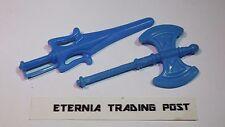 BLUE SWORD AX WEAPONS 1980s Orig Vtg MOTU Figure COMPLETE part Accessory lot set