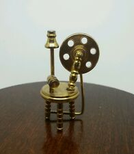 Vintage Dollhouse Miniature Brass Spinning Wheel 2 Inches Tall