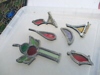 Vintage Stained Glass Panels Sections Architectural Salvaged Old job Lot Antique