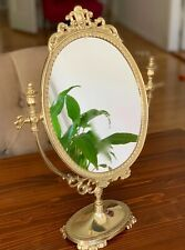Standing Mirror Gold Brass Make-Up Mirror Tilt Mirror Antique Swivel Mirror 38cm