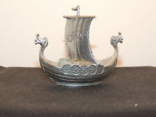 Handcast Norge Viking Ship TPB Tinn Pewter over 2 inches long (11625)
