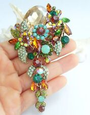 Charm Multicolor Rhinestone Crystal Teardrop Flower Brooch Pin Pendant 06524C5