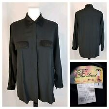 Fred David Small Black Long Sleeve Button Front Blouse Satin Trim Career Formal