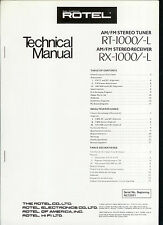 Orig Factory Rotel RT RX 1000/-L AM FM Stereo Tuner Receiver Service  Manual