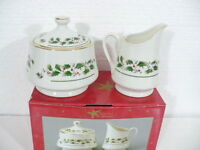 Christmas Holly Japan Sugar & Creamer w/ holly, berries, gold trim new in box