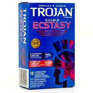 Trojan Double ECSTASY Caja 10 Lubricados Estimulante Condones Suave Intense Feel