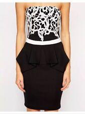 Bnwt🌹Lipsy🌹Size 8 Black & White Applique Lace Top Bandeau Peplum Dress New £65