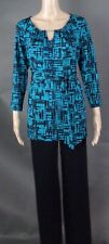 JONES NEW YORK BLACK & TURQUOISE TOP & PANT OUTFIT - SIZE 10