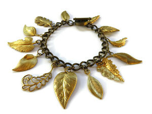 Vintage Brass Leaf Leaves Multi Charm Chain Toggle Bracelet