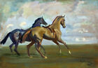 FRAMED CANVAS ART PRINT Sir Alfred James Munnings TWO RACE HORSES AT THE START