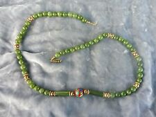 VINTAGE CHINESE JADE AND CLOISONNE NECKLACE W GOLD FILLED CLASP