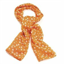 Coral Orange scarf with Many Little Star Print 105x180cm scarf shawl Wrap Stole
