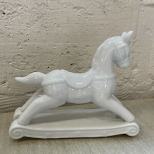Three Hands Corp. White Porcelain Rocking Horse