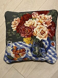 "Flowers Roses Strawberry Needlepoint Pillow Velvet Back 15xX15"" Blue Orange"