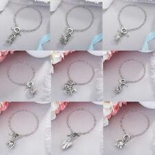 Silver Oyster Pearl Cage Locket Pendant Bracelet Bangle Women Jewelry Gift