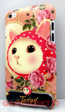 for iPod touch 4th 4 th 4g itouch case kitten cat kitty hot pink polka dot hard