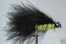 10 x Mouche de peche Streamer Catwiskers Noir H8/10/12 fly trout black truite