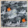 BonEful Fabric FQ Cotton Quilt VTG Glitter Cat Moon Orange B&W Scenic Halloween