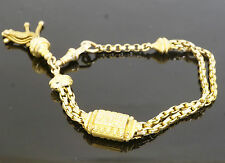 "Antique 9 ct or jaune 7"" ovale Curb Albertina Bracelet 5-10 mm large"