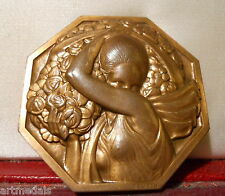RR ART DECO AWARD BRONZE PLAQUE by TURIN WOMAN WITH FLOWERS POETS SOCIETY PRIZE