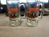 "TWO - 1991 Budweiser Anheuser Busch Clydesdales Glass Beer Stein/Mug 5.5"""