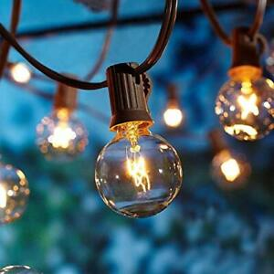 50Ft Outdoor String Lights, 53 Clear Globe Bulbs, Patio/Porch/Backyard/Bistro