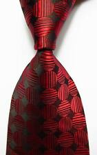New Classic Polka Dot Red Black JACQUARD WOVEN 100% Silk Men's Tie Necktie