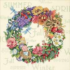"Gold Collection Wreath Of All Seasons Counted Cross Stitch K 14""X 088677350406"