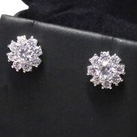 1 Ct Cubic Zirconia Flower Stud Earring Women Wedding Jewelry 14K Gold Plated