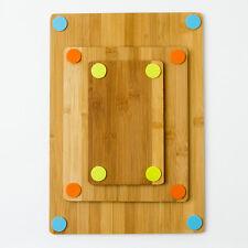 3-Piece Reversible Bamboo Cutting Board Set w/ Non-Skid Silicone Corners