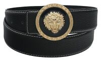 QHA Mens Designer Vintage Leather Belt With Luxury Lion Pin Buckle Waist Gift