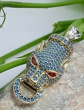 AAA Quality Sterling 925 Silver Jewelry Micro Pave Turquoise Panther Pendant