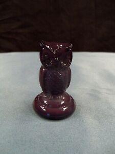 "HTF Boyd Art Glass Purple Glass Woodsie Owl Figurine 2"" Tall"