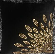 Handmade Embroidered Beads Cushion Cover In Velvet 40X40 Cm