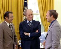 GERALD FORD WITH DONALD RUMSFELD AND DICK CHENEY IN 1975 - 8X10 PHOTO (EP-620)