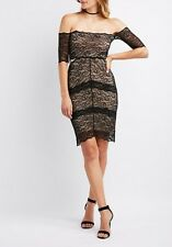 NWT Charlotte Russe Lace Mesh Bodycon Dress Medium