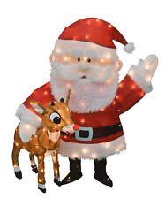 "Rudolph & Santa 36"" 3-D Tinsel Outdoor Christmas Decoration Yard Art"