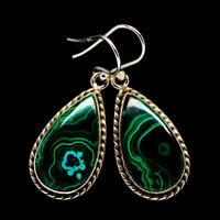 """Malachite In Chrysocolla 925 Sterling Silver Earrings 1 1/2"""" Jewelry E400038F"""