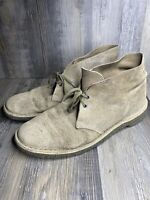 Clarks Originals Desert Boots Chukka Brown Suede Leather Mens Size 9M Distressed