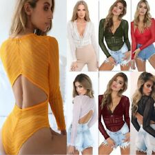 Womens Deep V Neck Plunge Bodysuit Lace Party Backless Leotard Tops UK Size 6-16