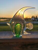 "Murano Style Beautiful 8"" Tall Green Art Glass Fish"