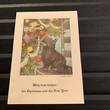 Vintage Greeting Card Christmas Scottie Dog Scottish Terrier Jack In The Box