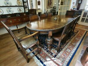 Victorian Pie Crust Wind Up Extendable Dining Table + Victorian Leather chairs