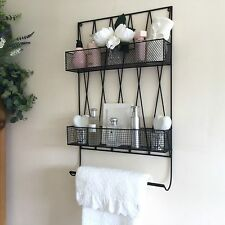 Vintage Style Metal Bathroom Wall Shelf Unit Rack Towel Rail Storage Unit Wire