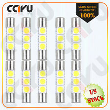 10X 6000K White 3SMD 5050 29MM 6641 3-LED Bulbs Vanity Mirror Lights Sun Visor